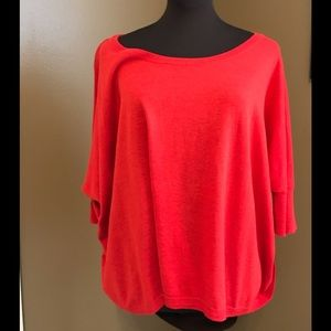 Cabi red cotton/rayon sweater.  Loose fit.